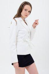 Beyaz Düz Renk Bayan Ceket 1670 4