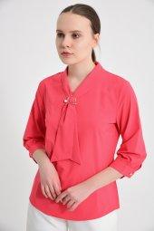 Pembe Fularlı Bayan Bluz 6405 3