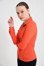 Turuncu uzun kol bayan gömlek 4415-4 -3