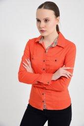 Turuncu uzun kol bayan gömlek 4415-4 -4