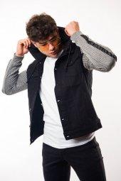 Kapüşonlu Kolu Şerit Detay Erkek Siyah Kot Ceket