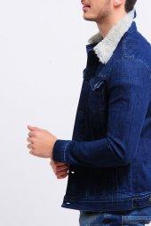 Yakası Kürklü Mavi Erkek Kot Ceket