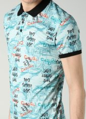 Yazı Desenli Polo Yaka Yeşil Erkek T Shirt