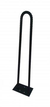 Retro U Tarz Nervurlu Demirden Rustik Firkete Masa Ve Sehpa Ayak Siyah 75 Cm