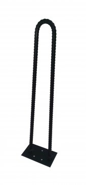 Retro U Tarz Nervurlu Demirden Rustik Firkete Masa Ve Sehpa Ayak Siyah 85 Cm
