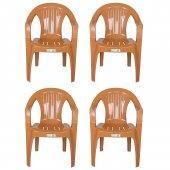Zigana Plastik Sandalye Çubuk Teak 4 Adet