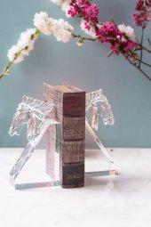 At Şeklinde Kristal Kitap Tutucu