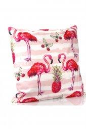 Dekoratif Flamingo Baskılı Yastık, İçi Elyaf Dolgu Ve Çıkabilen Fermuarlı Kılıf