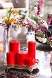 Kırmızı Dekoratif 5lı Mum Seti