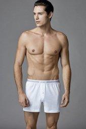 Eros Erkek Beyaz 2li Penye Boxer 035