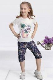 Arnetta Kız Çocuk Krem Rengi Çiçekli Şort Takımı 115