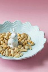 Mavi Seramik Tavşanlı Kuruyemiş Ve Çerezlik Sunum Tabağı