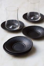 Metal Siyah Renkli 6 Lı Çay Tabağı Seti