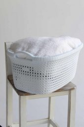örgü Desenli Beyaz Rengi 2 Li Plastik Eko Çamaşır Sepeti