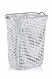 örgü Desenli Beyaz Rengi Plastik Kirli Çamaşır Sepeti 65 Lt