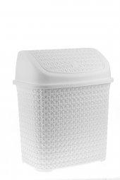 örgü Desenli Beyaz Rengi Plastik Klik Çöp Kovası 10 Lt