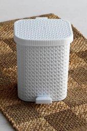 örgü Desenli Beyaz Rengi Plastik Pedallı Çöp Kovası 8 Lt