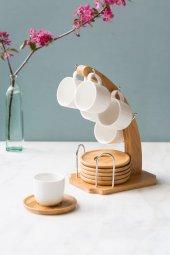 Tek Ayaklı Bambu 6lı Kahve Takımı