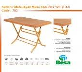 703- 70 X 120, CM METAL AYAKLI MASA TEAK