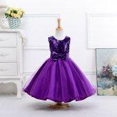 Kız Çocuk Prenses Model Kabarık Payetli Kız Çocuk Abiye Mor Elbise Doğum Günü Elbisesi Party Elbisesi