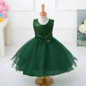 Kız Çocuk Özel Tasarım Kabarık Zümrüt Yeşili Abiye Elbise Party Doğum Günü Elbisesi