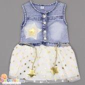 Bebinni Kids Yıldız Desenli Kot Jile Elbise 1 2 3 4 Yaş (Dore)