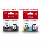 Canon Pg 46 Cl 56 Siyah Renkli Kartuş Set E404 E414 E464 (2 Ürün)