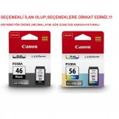 Canon Pg 46 Cl 56 E404 E414 E464 E484 Siyah Renkli Kartuş