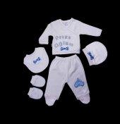 Prens Oğlum Hastane Çıkışı Yenidoğan Bebek 5li Beyaz Zıbın Set