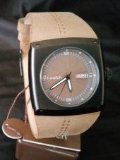 İ-Watch 55395 Siyah Köşeli Kasa Kahverengi Kayış Spor Kol Saati-2
