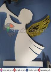 Strafor Sepeti - Gümüş & Altın Simli Strafor Melek - Strafor Logo, Strafor Pasta Maketi, Strafor Sütun  -2