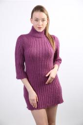 Sweater Boğazlı Yaka Kadın Kışlık Tunik Ls28r...