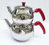 Aile Boy Küre Çelik Çaydanlık Takımı 4 Lt (1,6 + 2,4) Kırmızı