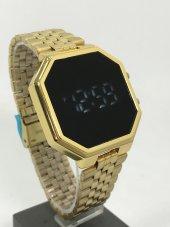 Yeni Model Gold Renk Led Watch Dijital Çelik Kasa Unisex Saat