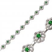 Gümüş Yeşil Taşlı Çiçek Bayan Bileklik