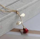 Aşkın Sembolü Rose Kırmızı Gül Kadın Kolye