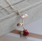 Aşkın Sembolü Rose Kırmızı Gül Kadın Kolye-2