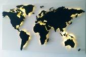 Creafıtters Ledli Ahşap Dünya Haritası