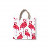 Dijital Baskılı Flamingo Desenli Plaj Çantası Çnt43