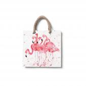 Dijital Baskılı Flamingo Desenli Plaj Çantası Çnt41