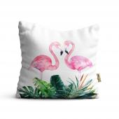 Flamingo Desenli Dijital Baskılı Dekoratif Kırlent Kılıfı Flm23