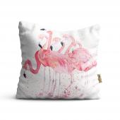 Flamingo Desenli Dijital Baskılı Dekoratif Kırlent Kılıfı Flm20