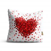 Kalp Desenli Dijital Baskılı Dekoratif Kırlent Kılıfı Lv28