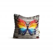 Kelebek Desenli Dijital Baskılı Dekoratif Kırlent Kılıfı Krm29
