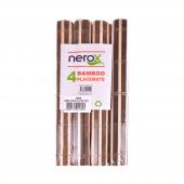 Nerox 4lü Kahverengi Beyaz Bambu Servis Nrx 327