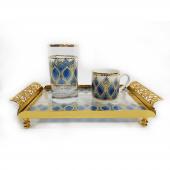Porblanche Home Osmanlı Motifli Tek Kişilik Kahve Seti Lacivert