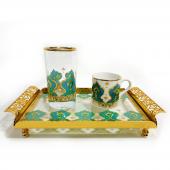 Porblanche Home Osmanlı Motifli Tek Kişilik Kahve Seti Turkuaz