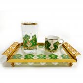 Porblanche Home Osmanlı Motifli Tek Kişilik Kahve Seti Yeşil
