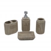 Stonware Vintage 4lü Açık Kahverengi Banyo Seti