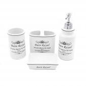 Stonware Vintage 4lü Beyaz Yazılı Banyo Seti